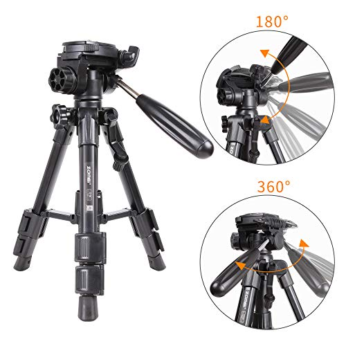 Zomei Q100 Mini Travel Tabletop Tripod Tabletop Tripod with 3-Way Pan/Tilt Head 1/4 inches Quick Release Plate and Bag for DSLR Camera Tripod Carrying Bag (Black)