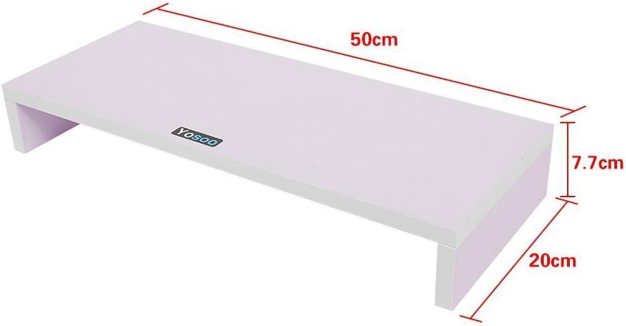 50*20*7.7cm TV Color Blanco Soporte de Madera Universal para Monitor Marr/ón Port/átil Estante de Escritorio para Elevar la Pantalla de Sobremesa Negro