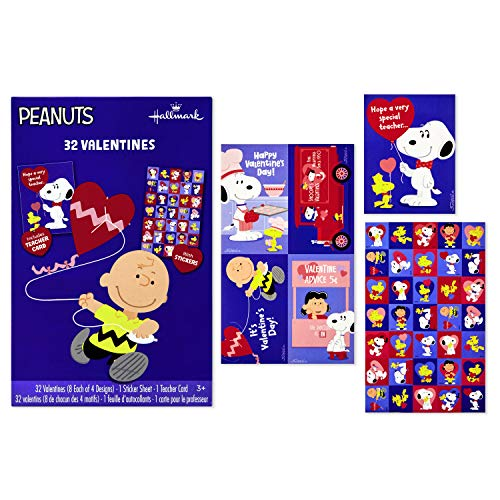 Snoopy Valentines Day (Hallmark Peanuts Valentines Day Cards for Kids, Charlie Brown (32 Valentine Cards, 35 Stickers, 1 Teacher)