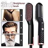 Beard Straightener, Multifunctional Hair Straightening Brush-3 in 1 Heating Ionic Enhanced Straightening Brush Comb For Men Women