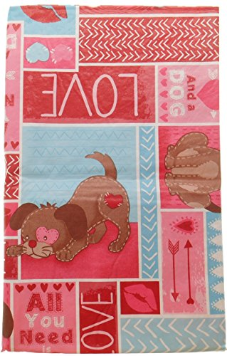 Puppy Love Themed Valentine's Vinyl Tablecloth - All You Need Is Love and a Dog - Flannel Backed (52