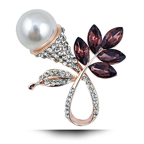 High-grade gold brooch Korea crystal fashion jewelry natural freshwater pearl full diamond leaf (Diamond Freshwater Brooch)