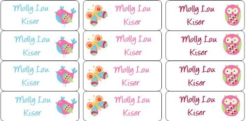 30 Personalized Waterproof Name Labels Butterfly Labels Owl Name Labels Bird Labels Personalized Name Labels Personalized Tags Favor Tags Daycare Labels Name Tags Book Labels Waterproof Labels For Kids Lunchboxes