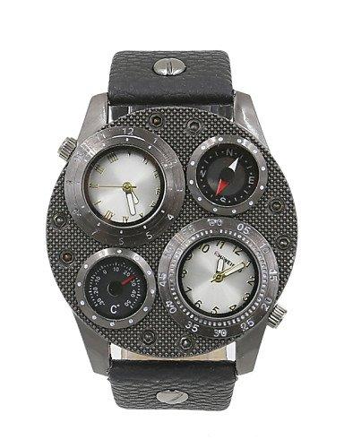 Macho del doble huso horario brújula termómetro relojes militares
