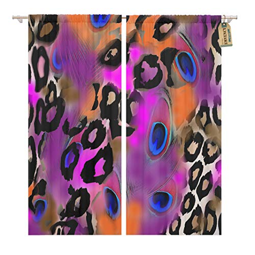 Golee Window Curtain Purple Abstract Animal Leopard Feather Pattern Africa Black Camouflage Home Decor Rod Pocket Drapes 2 Panels Curtain 104 x 63 inches