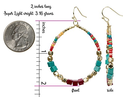 Bohemian Multi-Colored Cube Beaded Hoop Earrings for Women | SPUNKYsoul Collection (Teal/Red/Cube) by SPUNKYsoul (Image #2)
