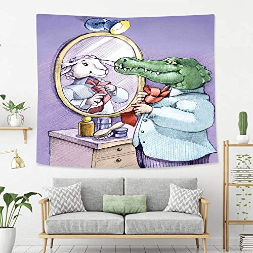 BEIVIVI Wall Tapestry Wall Hanging Cartoon A Crocodile Knotting His Tie Looks in Mirror and Sees Himself As Sheep Fun Cartoon Puple Green Polyester Fabric Tapestries for Bedroom Living Room Dorm