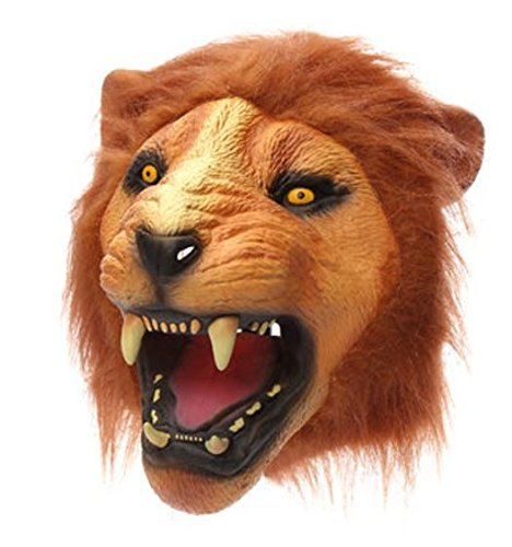 Lion Head Mask Creepy Animal Halloween Costume Theater Prop Latex Party Toy by Advanced (Painted Lion Faces For Halloween)
