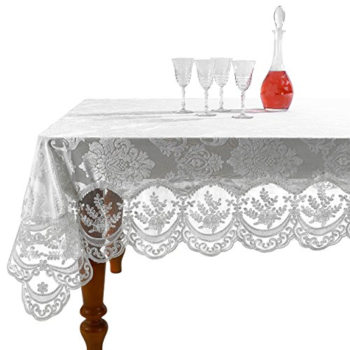 Violet Linen Fontainebleau Embroidered Lace Tablecloth, Floral Velvet Design - White - 54