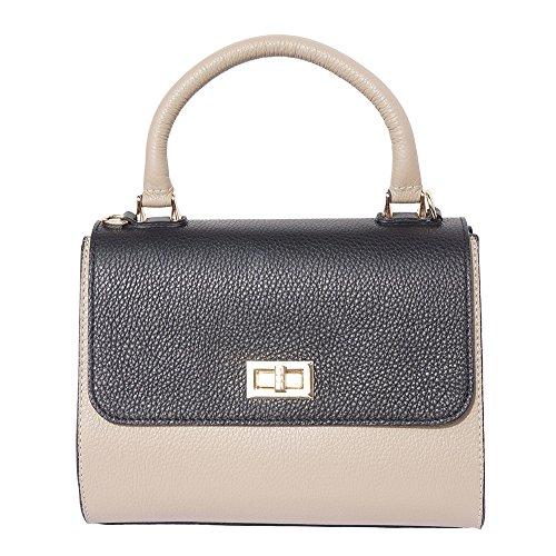 Aletas Laterales Gris Florence Pardo Bowler De pequeño Market Bolso Leather Claro negro Con Cuero 9132 PPUq0fx