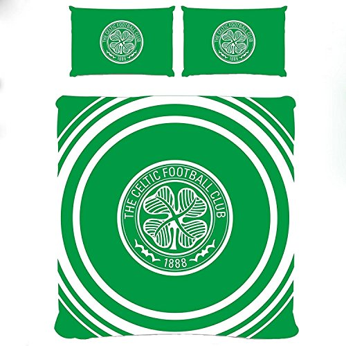 Celtic FC Official Double Duvet and Pillowcase Set Pulse Design (Double) (Celtic Fc Bedding)