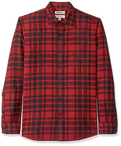 (Goodthreads Men's Standard-Fit Long-Sleeve Brushed Flannel Shirt, -red/black plaid,)