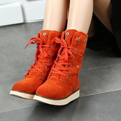 Tefamore Zapatos planos de Mujer Botines Botas de Otoño Invierno naranja