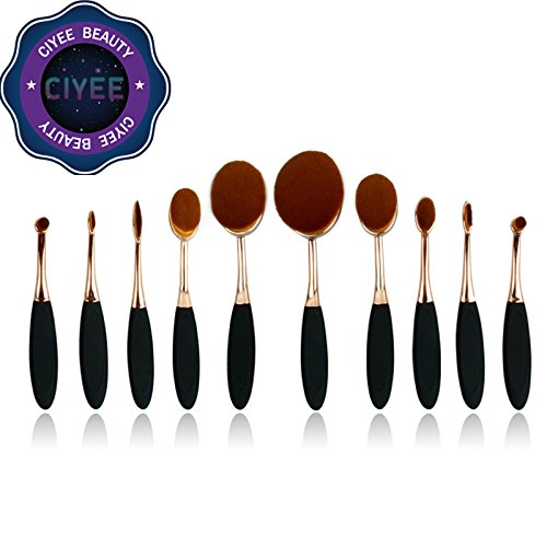 Ciyee® Rose Gold with black makeup brush blush brush plastic 10 piece oval makeup brush synthetic makeup brushes makeup nylon brushes by Ciyee