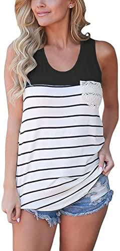 FARYSAYS Women's Casual Color Block Striped Racerback Cami Tank Tops