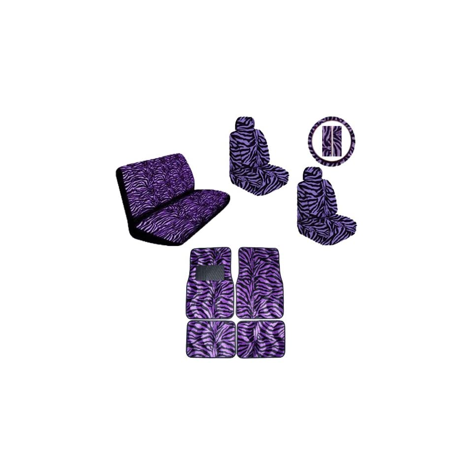 Purple Zebra Animal Print Safari Stripes Car Truck SUV Auto Accessories Front & Rear Floor Mats Universal fit Bucket Seat Covers Bench Steering Wheel Cover & Shoulder Belt Pads Interior Combo Kit Gift Set   15PC Automotive