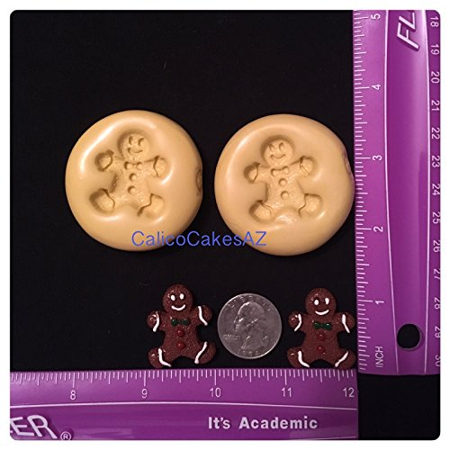2 Gingerbread Men Fondant Mold Set Chocolate Candy Gumpaste Soap Resin Clay
