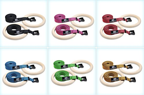 Garage Fit Wood Gymnastic Rings - Wooden Gymnastics Rings, Fitness Rings, Exercise Rings - Gymnast Rings - Gym Ring (1.25 inch Blue Straps)