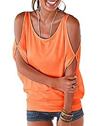 Womens Cold Shoulder Tops Short Sleeve T Shirt Pullover Casual Dolman Blouse