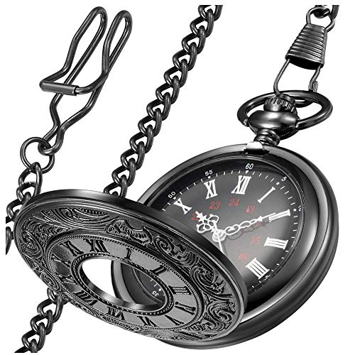 LYMFHCH Vintage Roman Numerals Quartz Pocket Watch, Men Womens Watch with Chain As Xmas Fathers Day Gift from LYMFHCH
