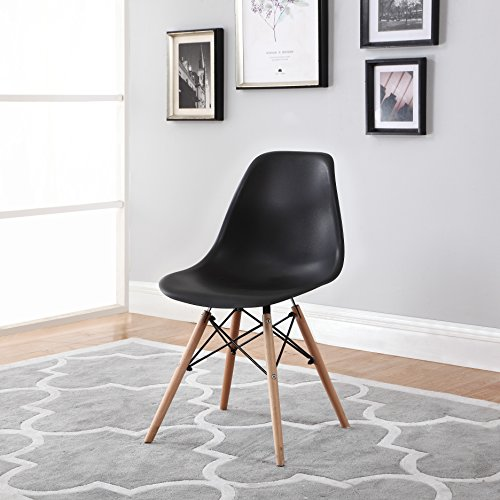 Divano Roma Furniture Modern Set of 2 Eames Style Chair Natural Wood Legs in Color White, Black and Red Dining Chairs (Black)