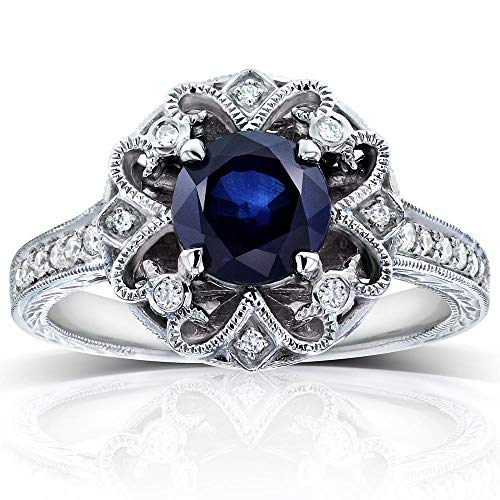 (Antique Round Blue Sapphire and Diamond Vintage Style Engagement Ring 1 1/2 Carat (ctw) in 14k White Gold, Size 10.5)