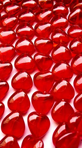 HEART GLASS BEADS CZECH PRECIOSA 10mm CHERRY RED 25pcs ()