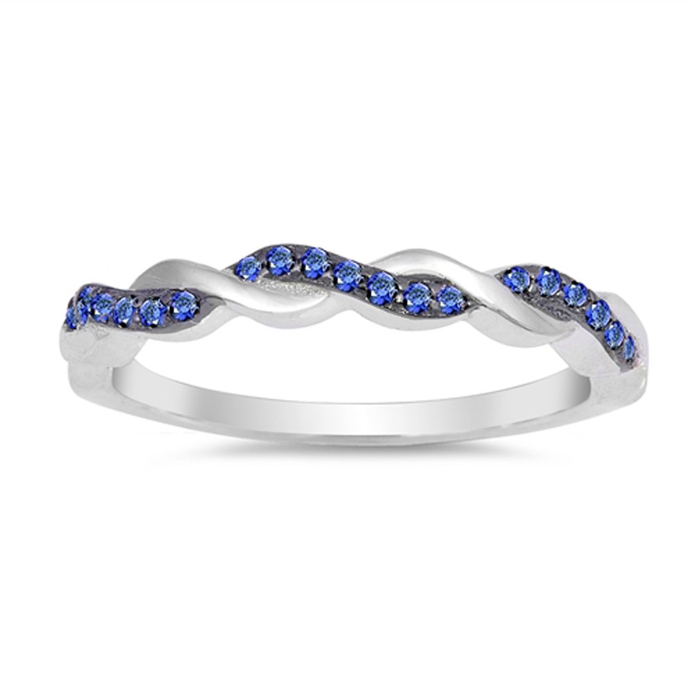 Blue Simulated Sapphire Stackable Thin Knot Ring .925 Sterling Silver Band Size 7 by Sac Silver