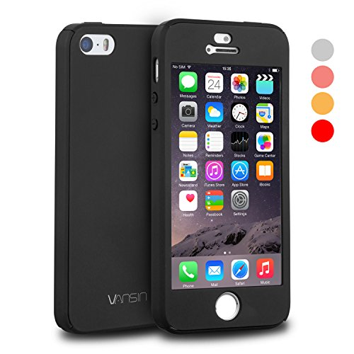 iPhone 5S Case, iPhone 5 Case, iPhone SE Case, VANSIN 360 Full Body Protection Hard Slim Case with Tempered Glass Screen Protector for Apple iPhone 5 5S SE (4.0-inch) - Black (Girly Cell Phone Accessories compare prices)