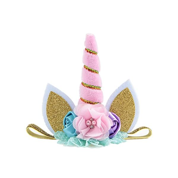 Nishine Baby Elastic Glitter Unicorn Horn Headband Children Unicorn Party Supplies Cosplay Gift 6