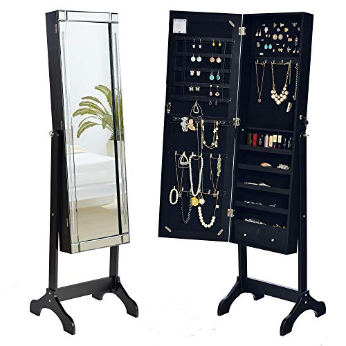 Elpitha Jewelry Cabinet Led Lights Jewelry Armoire Organizer with Beveled Edge Mirror,Black