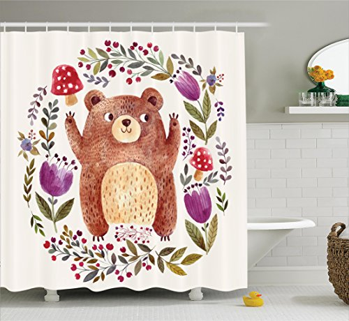 Ambesonne Watercolor Flower Decor Collection, Illustration of Cute Little Bear in Watercolor Effect with Floral Whreath Print, Polyester Fabric Bathroom Shower Curtain Set with Hooks, Multi