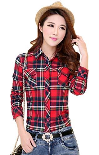 Jixin4you Vogue Carreaux Tops Jauen Manches Bleu Chemisier Blouse Longues Femme Rouge T Dcontract Shirt Sxrvwx