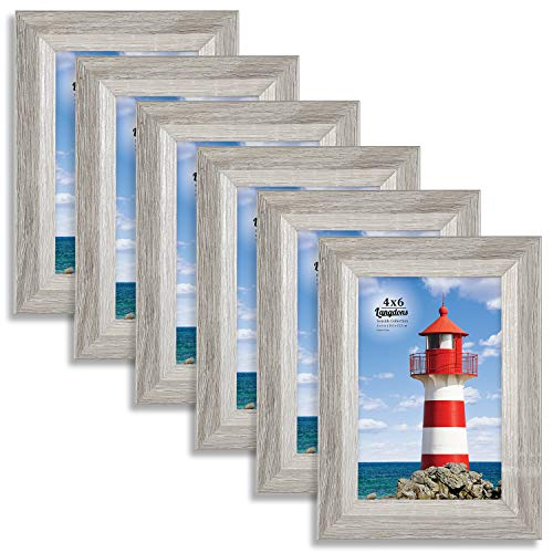 Langdons 4x6 Picture Frame (6 Pack, Gray), Sturdy Wood Composite Photo Frame 4 x 6, Wall Mount or Table Top, Set of 6 Seaside Collection