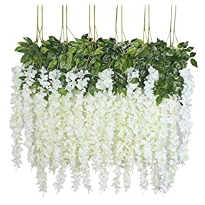 U'Artlines 12 Pack 3.6 Feet/Piece Artificial Fake Wisteria Vine Ratta Hanging Garland Silk Flowers String Home Party Wedding Decor Extra Long and Thick 5