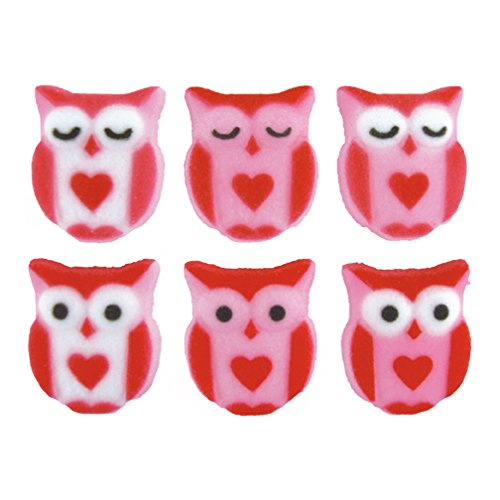 Love Is a Hoot Owl Valentines Day Sugar Decorations 12 Count