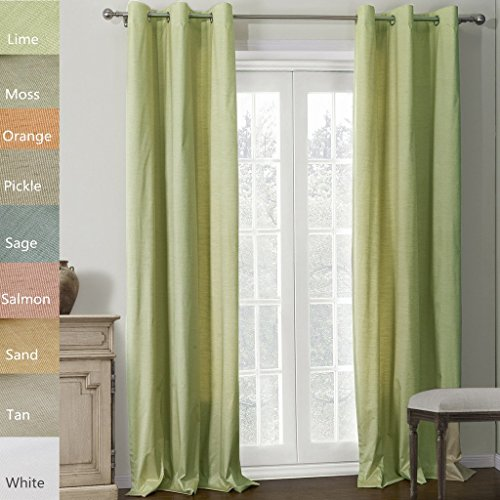 Chadmade Heavy Thick Triple-pass Thermal Coating Back Layer Insulated Blackout Grommet Curtain Panel (1 Panel) 50Wx96L Inch Lime by Chadmade