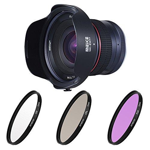 Meike MK-12mm-F2 8 72mm APS-C 広角 マニュアルフォーカス 固定レンズ+ Andoer フィルターキット (UV+CPL+FLD)/ナイロンキャリーポーチなど ソニー Nex3 / 5/6/7 A5000 / A5100 / A6000 / A6100 / A6300 / A6500 ILDC ミラーレス カメラ用