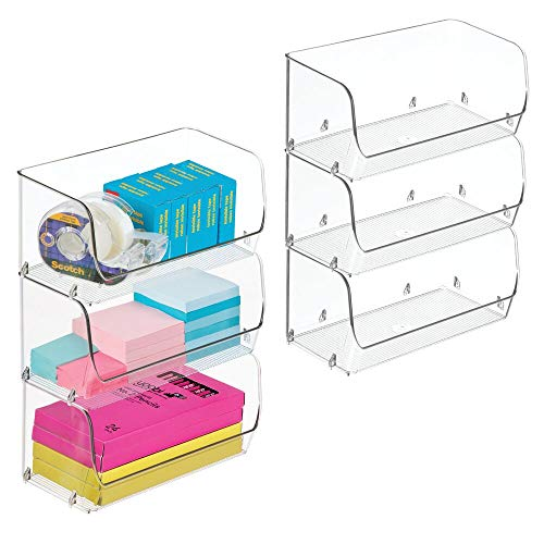 mDesign Plastic Stackable Bin with Open Front for Organizing Home Office, Desk Drawer, Shelf or Closet to Hold Staples…