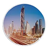iPrint Thick Round Beach Towel Blanket,Urban,Modern Subway Line in Dubai Tracks Skyscrapers Futuristic View Commercial,Light Brown Blue White,Multi-Purpose Beach Throw