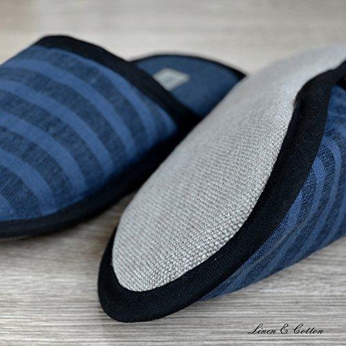 Et Léger Akiro Coton Bleu Pantoufles Noires Denim Rayé Lin 100 Lin Rayures qFRw7ZdxqW