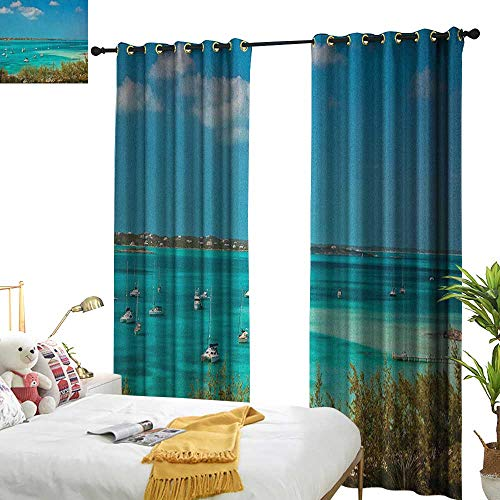 Crystal Astoria Clear (longbuyer Sailboat Thermal Insulating Blackout Curtain Sailboats and Power Boats Anchored in Crystal Clear Waters of The Bahamas W84 x L96,Suitable for Bedroom Living Room Study, etc.)