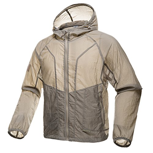 (FREE SOLDIER Men's Tactical Jacket Lightweight Wind Breaker Jacket Water-Resistant Breathable Hiking Cycling Jacket (Mud Color, M))