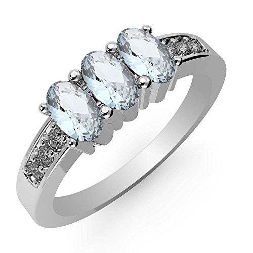 7x5mm Genuine Aquamarine Ring - 3