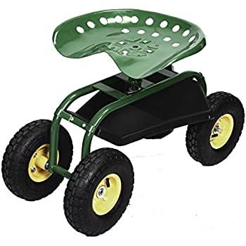 Amazon.com : Best Choice Products Garden Cart Rolling Work Seat ...