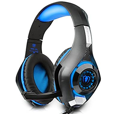 Beexcellent Gaming Headset with Mic Volume Control for PS4 PC Laptop Tablet Smartphones (Blue)