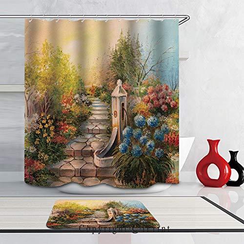 (2 Piece Shower Curtain Set Bath Mat Set Print with 12 Hooks SHOWER CURTAIN Set for Bathroom,(66