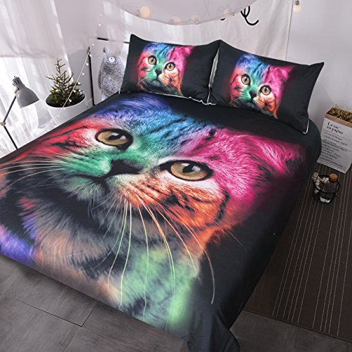 - BlessLiving Cat Bedding for Girls Boys Cute Colorful Cat Pattern Bedspread 3 Piece Bold Color Black Animal Duvet Cover Set (Twin)