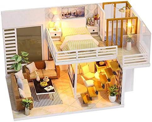 ドールハウス ミニチュア LED木製DIYミニチュアピンクヴィラドールハウス家具キット子供のおもちゃのギフト 子供 プレゼント 知育玩具 (Color : White, Size : One size)