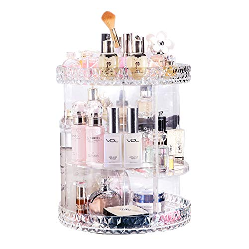 - Lumcrissy Makeup Cosmetic Organizer 360-Degree Rotating Crystal Display Stand Box (Plus Size14''×11' Extra Large Capacity), Adjustable Multi-Function Cosmetic Storage
